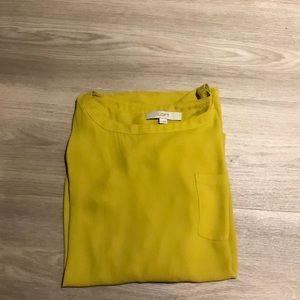 Loft mustard pocket blouse long sleeve top